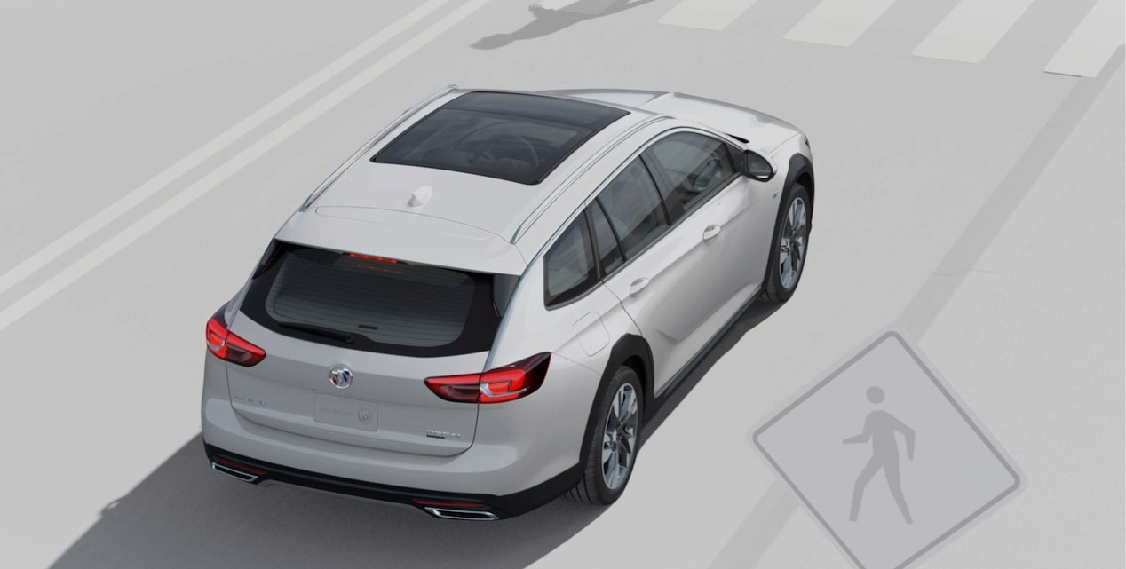 Image showing saftey features of the 2018 Buick Regal TourX luxury wagon.