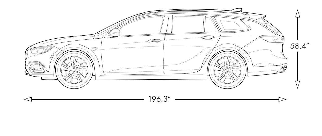 Diagram image of the 2018 Buick Regal TourX luxury wagon.