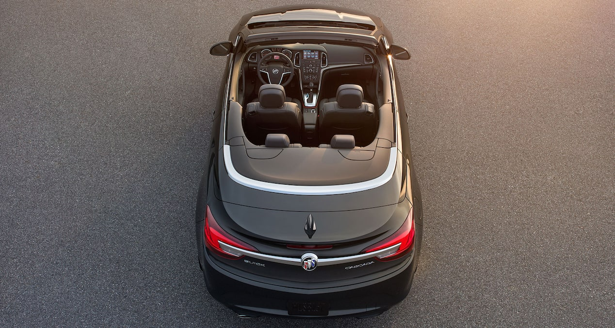 Image of the 2018 Buick Cascada luxury convertible from above with the top down.