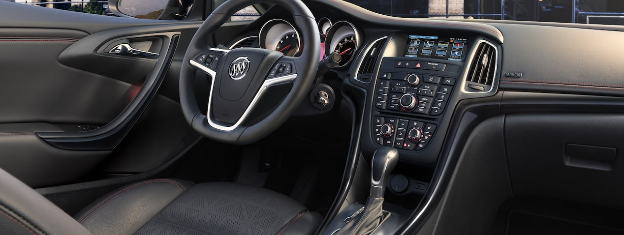 Image showing the front cabin of the 2018 Buick Cascada luxury convertible with the top down.