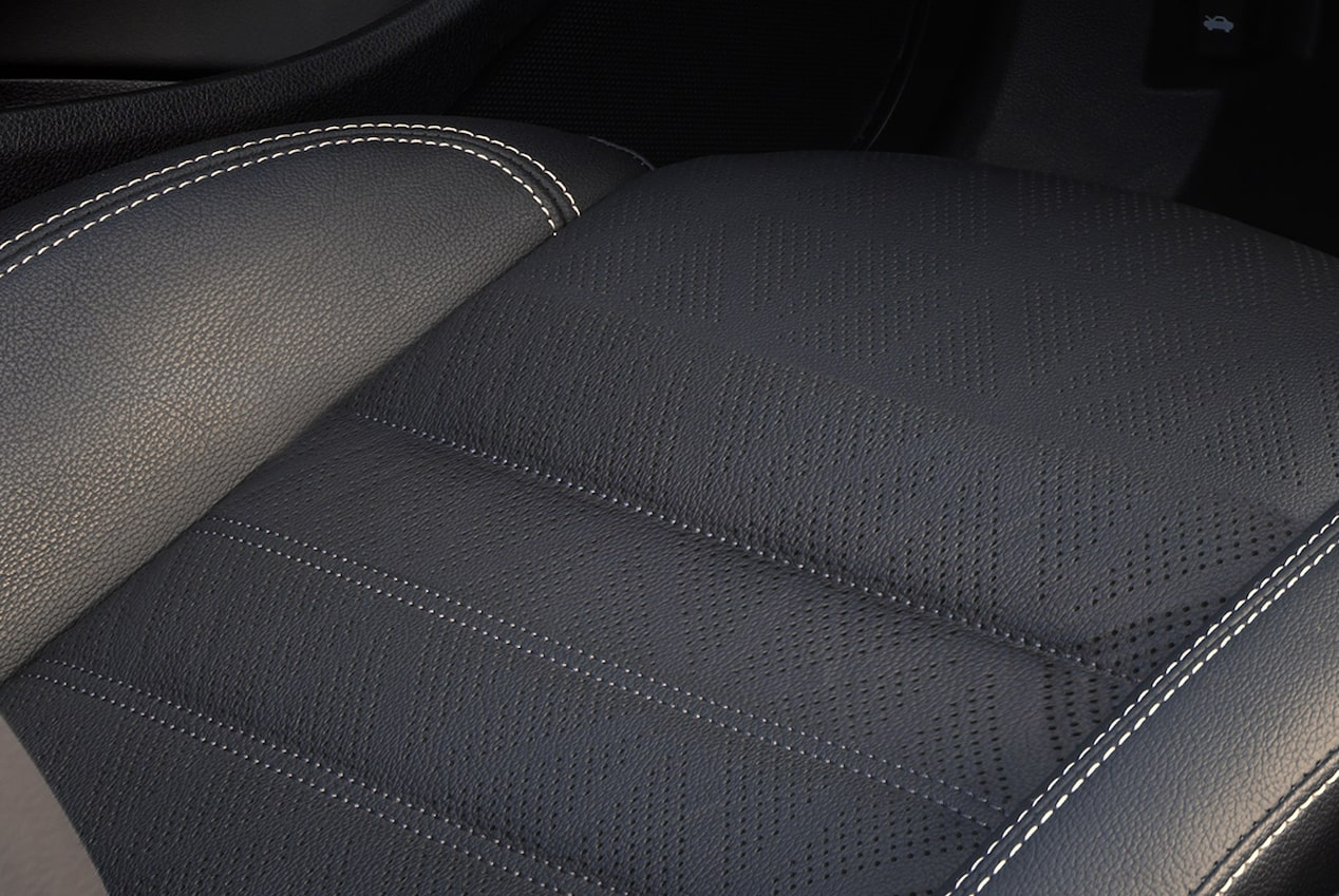Closeup image on the seat cushion in the 2018 Buick Cascada luxury convertible.