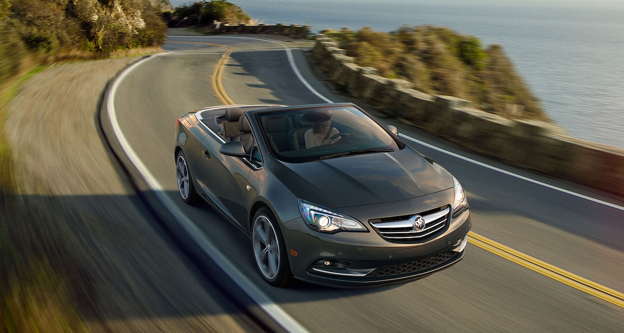 Image of the 2018 Buick Cascada luxury convertible in motion on a mountain road.