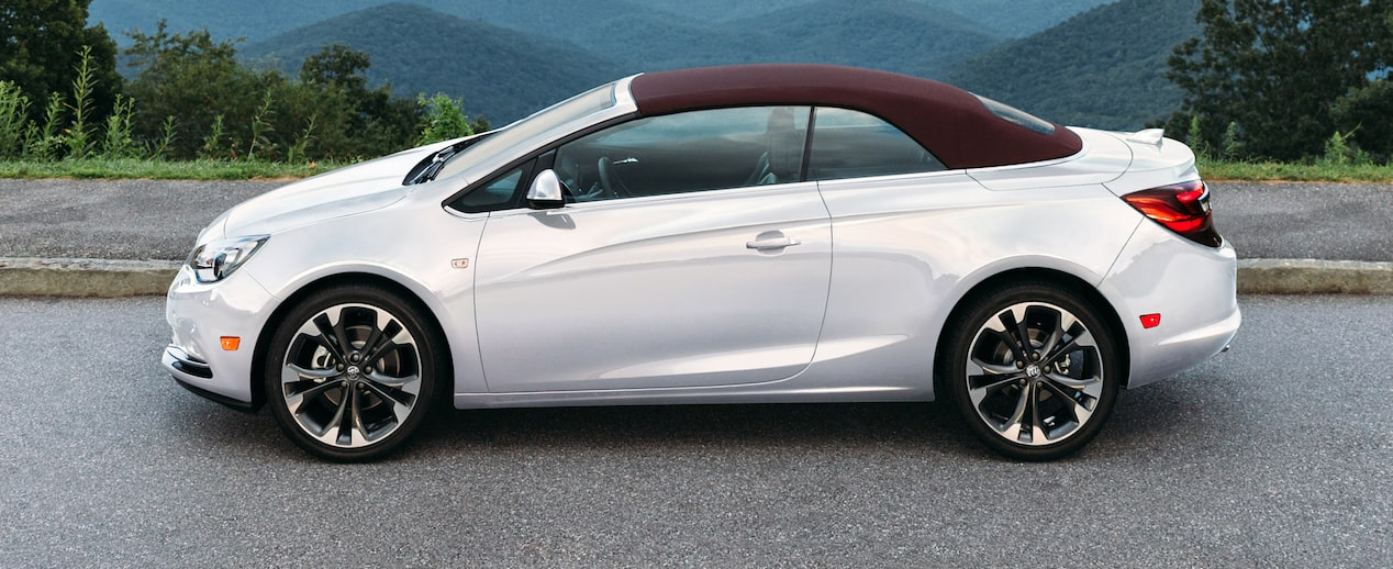 Exterior image of the 2018 Buick Cascada luxury convertible with retractable soft-top in malbec.