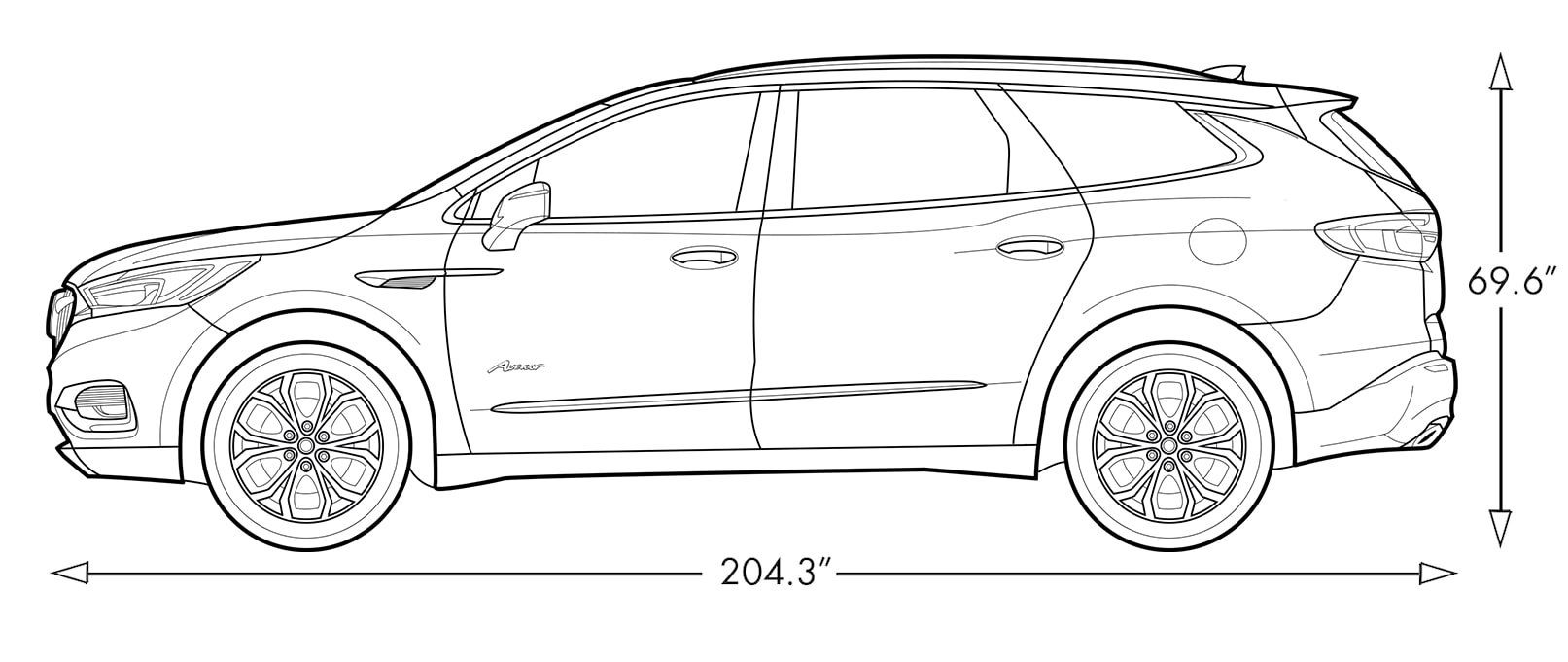 Diagram image of the 2018 Buick Enclave Avenir mid-size luxury SUV.