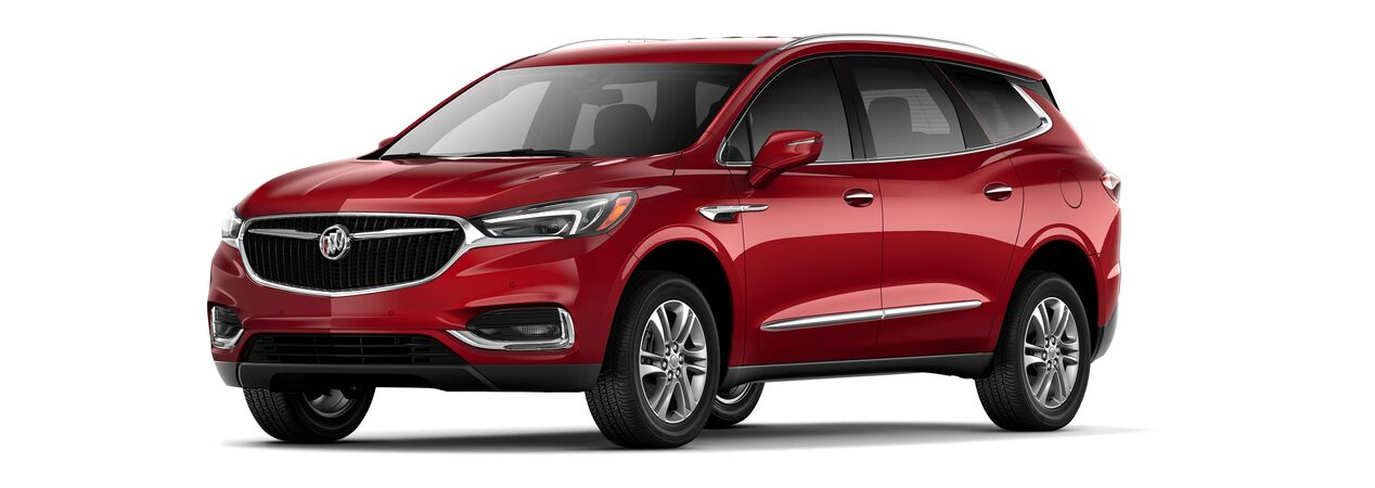 2018 Enclave mid-size luxury SUV shown in red quartz tintcoat.