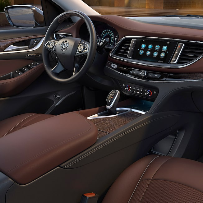 2018 Enclave mid-size luxury SUV interior chestnut front.