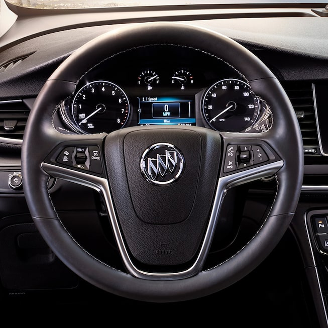 Steering wheel of the 2018 Encore compact SUV.