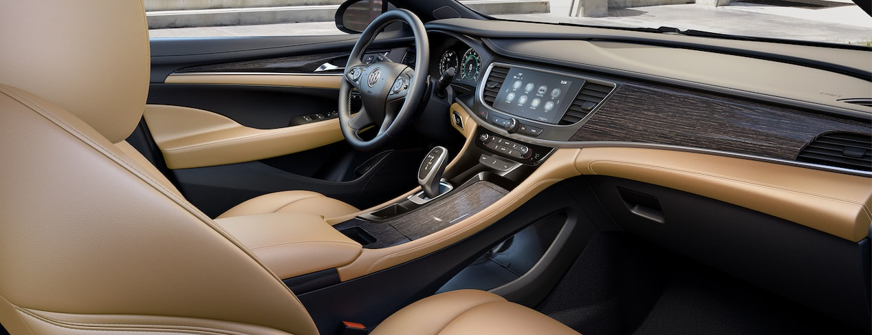 Masthead image for the interior features page featuring the 2019 Buick LaCrosse full-size luxury sedan.