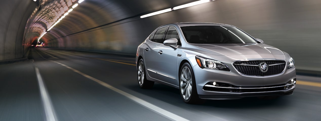 Masthead image for the performance features page featuring the 2019 Buick LaCrosse full-size luxury sedan.