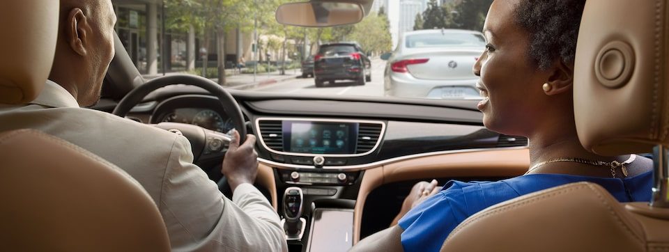 Masthead image for the safety features page featuring the 2019 Buick LaCrosse full-size luxury sedan.