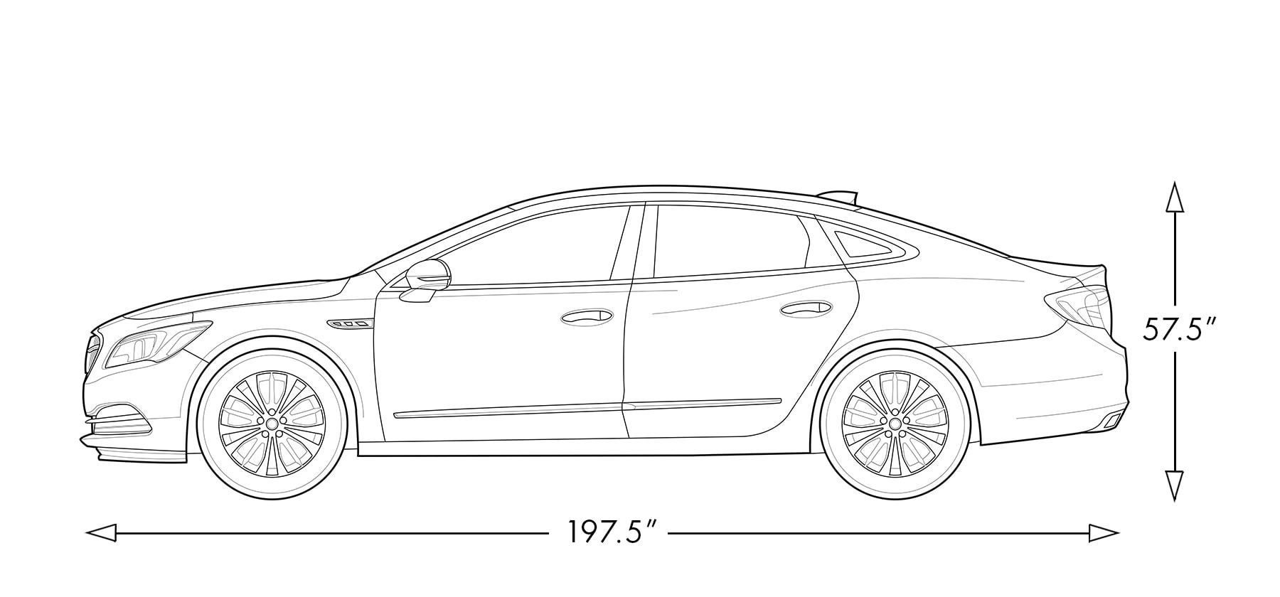 Chart image showing the height and length of the 2019 Buick LaCrosse full-size luxury sedan.