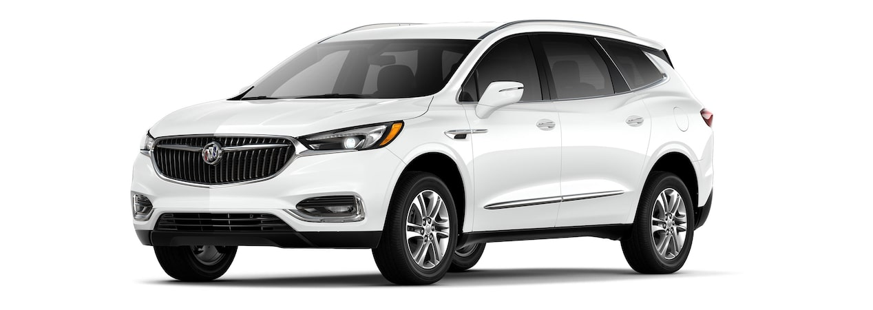 2019 Buick Enclave mid-size-luxury SUV shown in summit white.