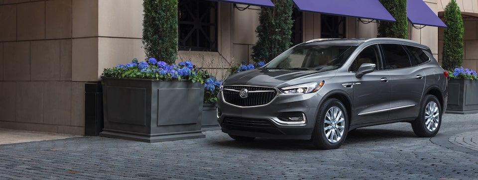 Masthead image for the exterior features page showing the 2019 Buick Enclave mid-size SUV.