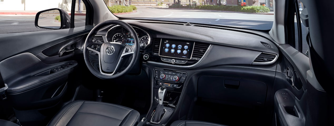 Masthead image for the interior features page featuring the 2019 Buick Encore small luxury SUV.
