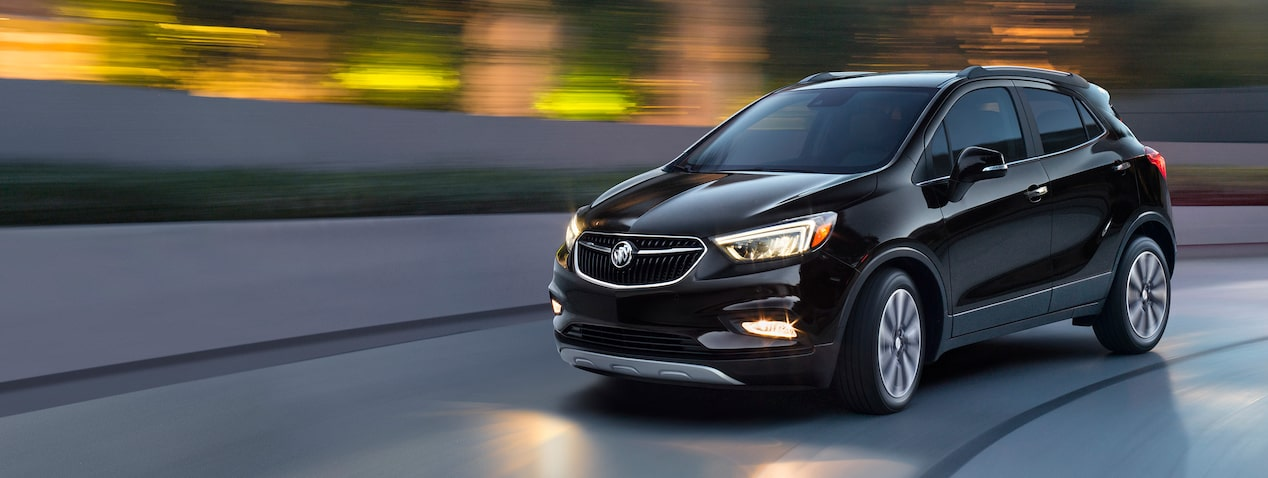 Masthead image for the connectivity features page featuring the 2019 Buick Encore small luxury SUV.