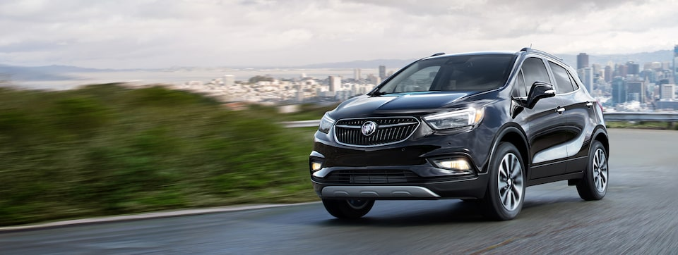 Masthead image for the safety features page featuring the 2019 Buick Encore small luxury SUV.