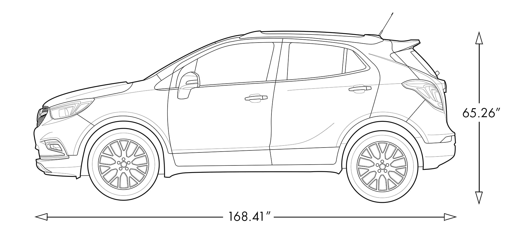 Diagram image showing the height and length of the 2019 Buick Encore small luxury SUV.