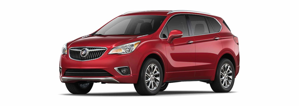 2019 Buick Envision compact luxury SUV shown in chili red metallic.