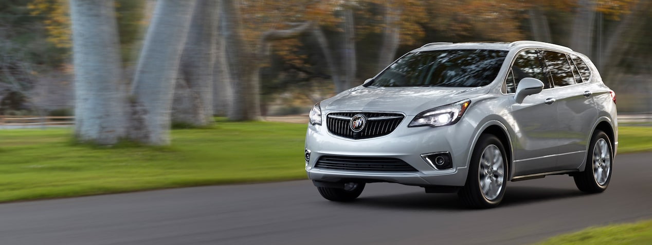 Masthead image for the safety features page featuring the 2019 Buick Envision compact luxury SUV.