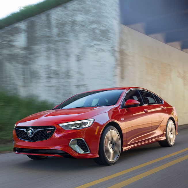 2020 Buick Regal GS Mid-Size Luxury Sedan: exterior front three quarters driving action view