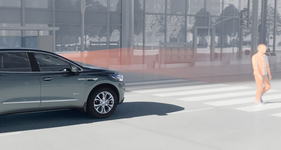 2020 Buick Enclave mid-size luxury SUV Safety Features Front Pedestrian Video Still