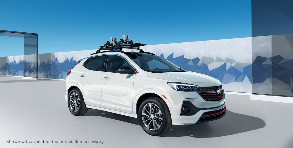 2021 Buick Encore GX ST Sporty SUV with snowboard on roof rails