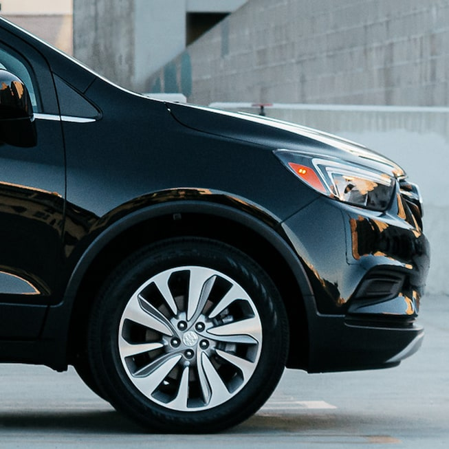 2020 Buick Encore Small Luxury SUV: front profile view outside the city
