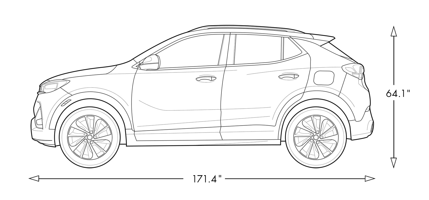 Diagram of 2021 Buick Encore GX ST Sporty SUV Specs