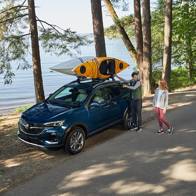 2020 Buick Encore GX Small SUV with kayaks on roof rails