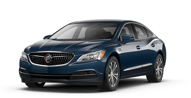 Jellybean image showing the 2017 Buick LaCrosse full-size luxury sedan in dark sapphire metallic.