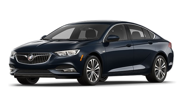 Jellybean image showing the 2018 Buick Regal Sportback luxury sedan in dark moon blue metallic.