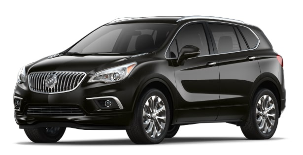 Jellybean image showing the 2018 Buick Envision small luxury SUV in ebony twilight metallic.